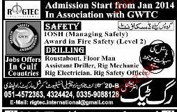 Rig Tech International Admission in Safety Courses 2019