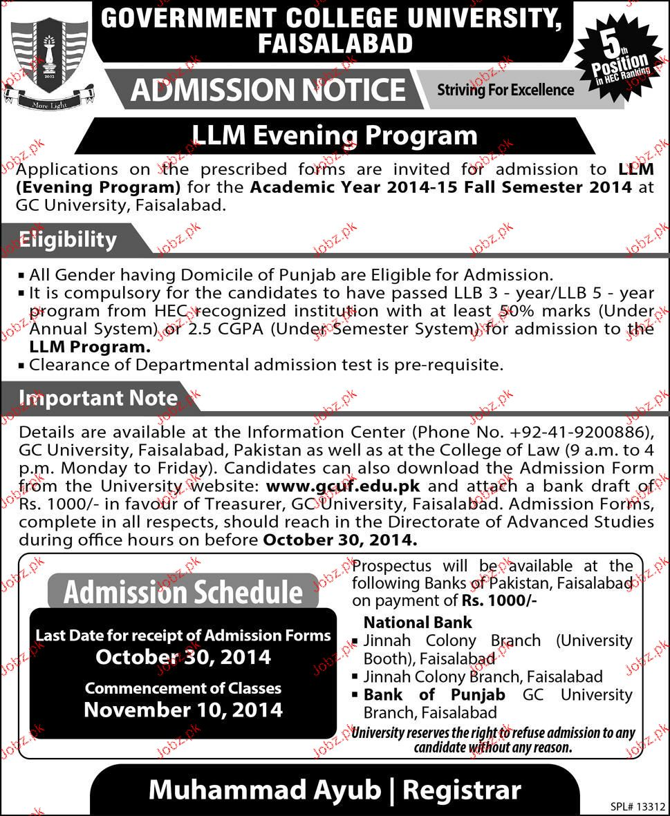 Government College University Faisalabad Admission in LLM 2019