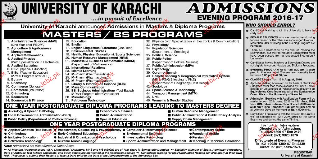 University Of Karachi Admission In Master Bs Programs