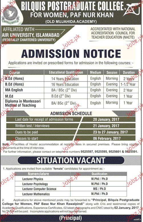 Bilquis Postgraduate College Admission in B Ed and M Ed 2019