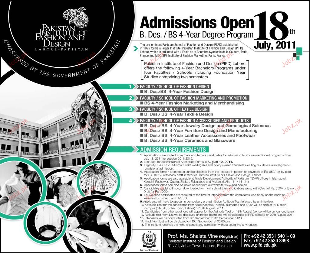 Admission Open In Pakistan Institute Of Fashion Design 2020 Government Admissions Graduate Technical Lahore Punjab Pakistan Jobz Pk