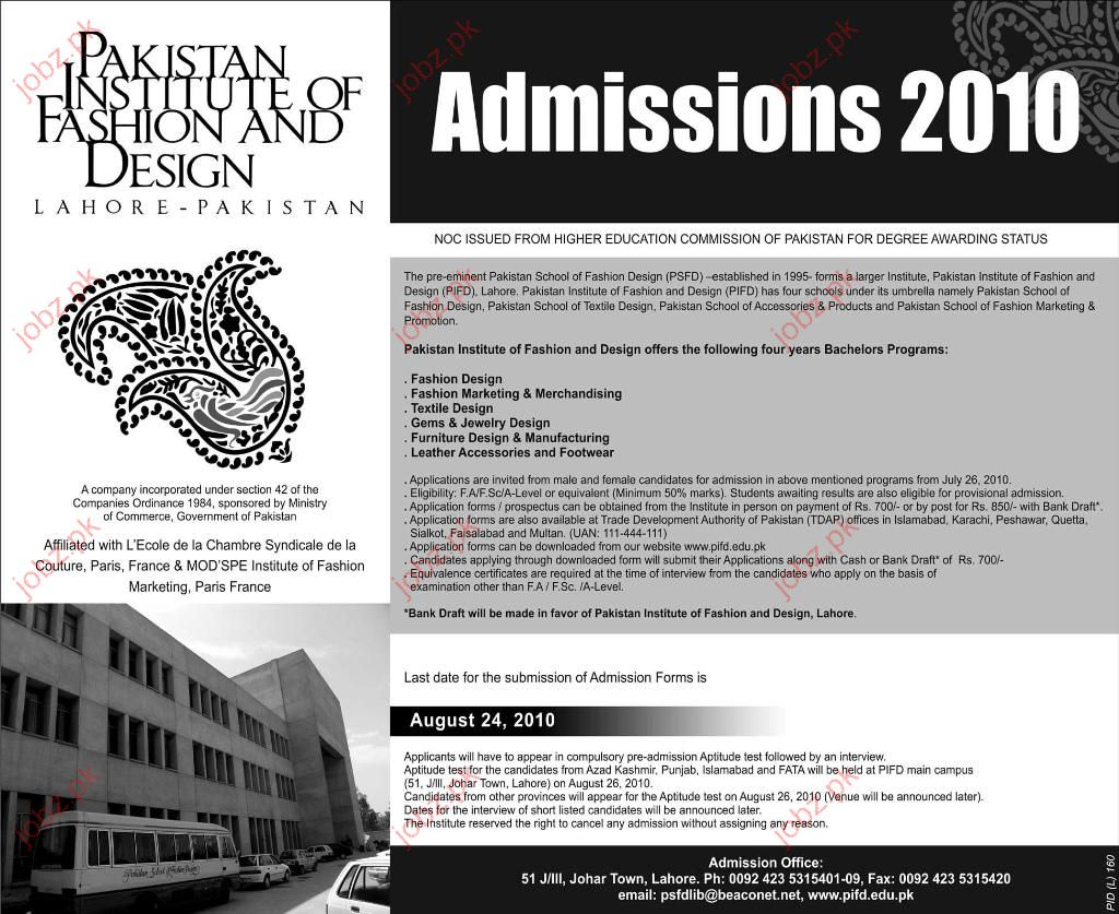 Pakistan Institute Of Fashion And Design Admission Open 2020 Government Admissions Course Lahore Punjab Pakistan Jobz Pk