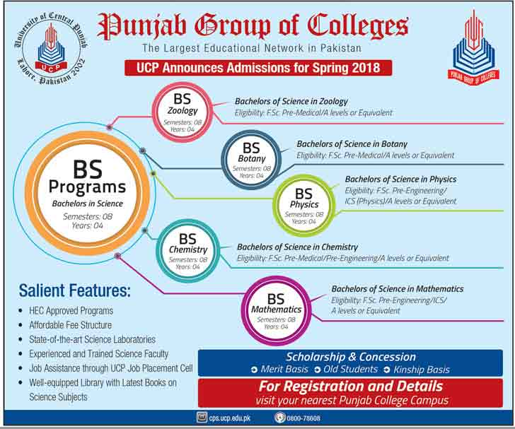 Punjab Group of Colleges Admissions 2018 for BS Programs 2019