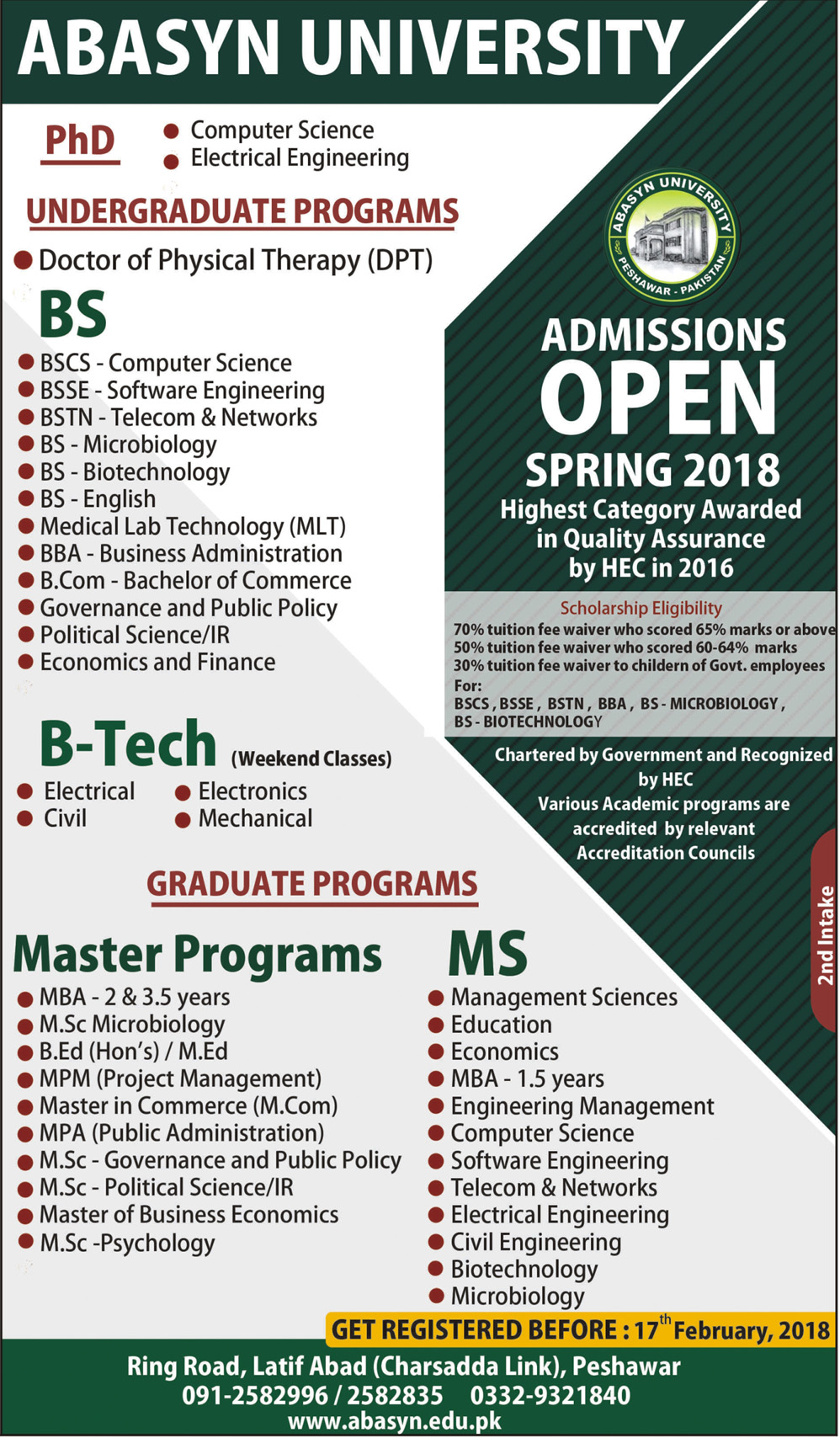 Abasyn University Admission in BS, B-Tech, MS 2019 Private