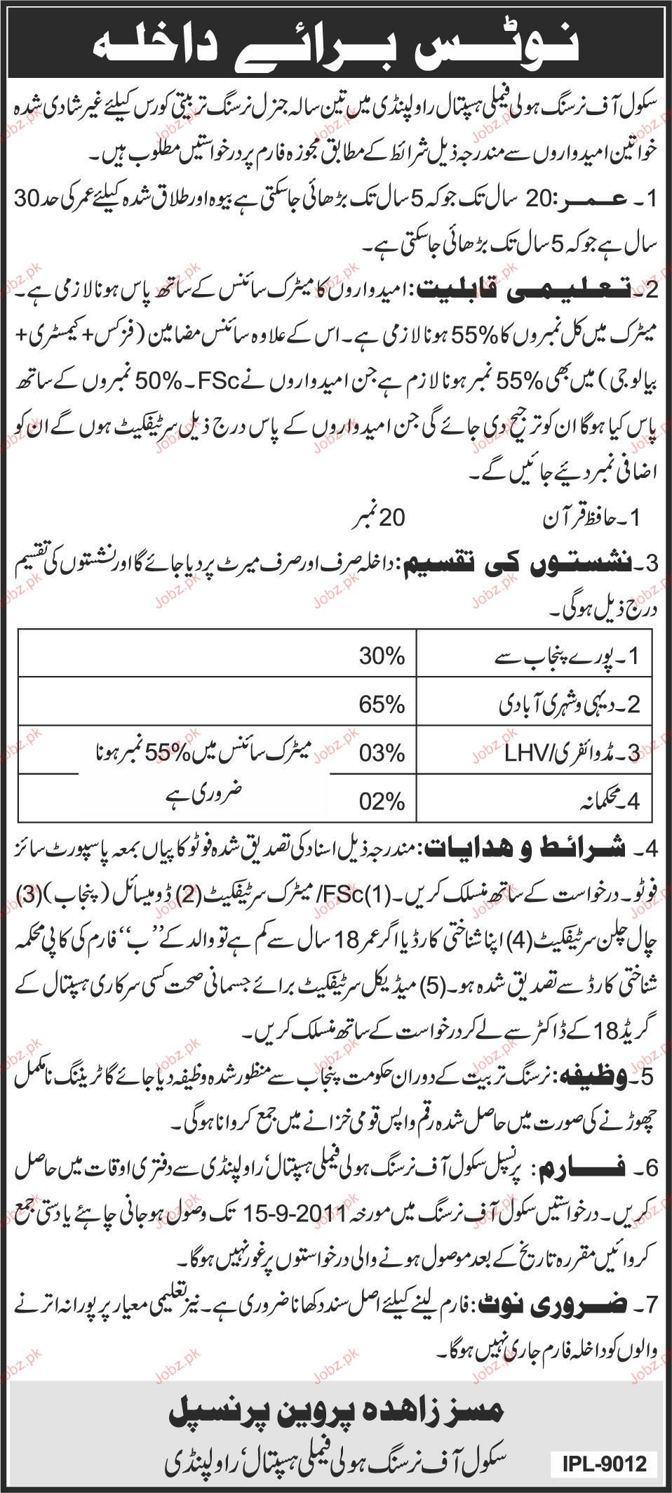 Admission Open in School of Nursing 2019 Government