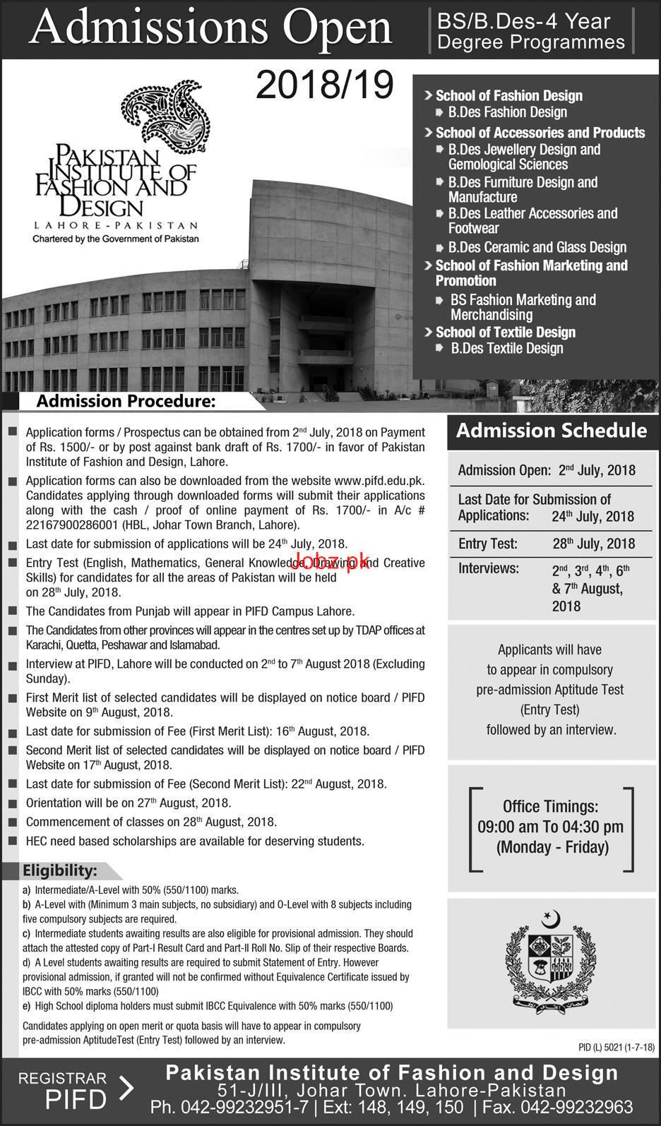 Pakistan Institute Of Fashion And Design Admission In Bs 2020 Private Admissions Graduate Other Lahore Punjab Pakistan Jobz Pk