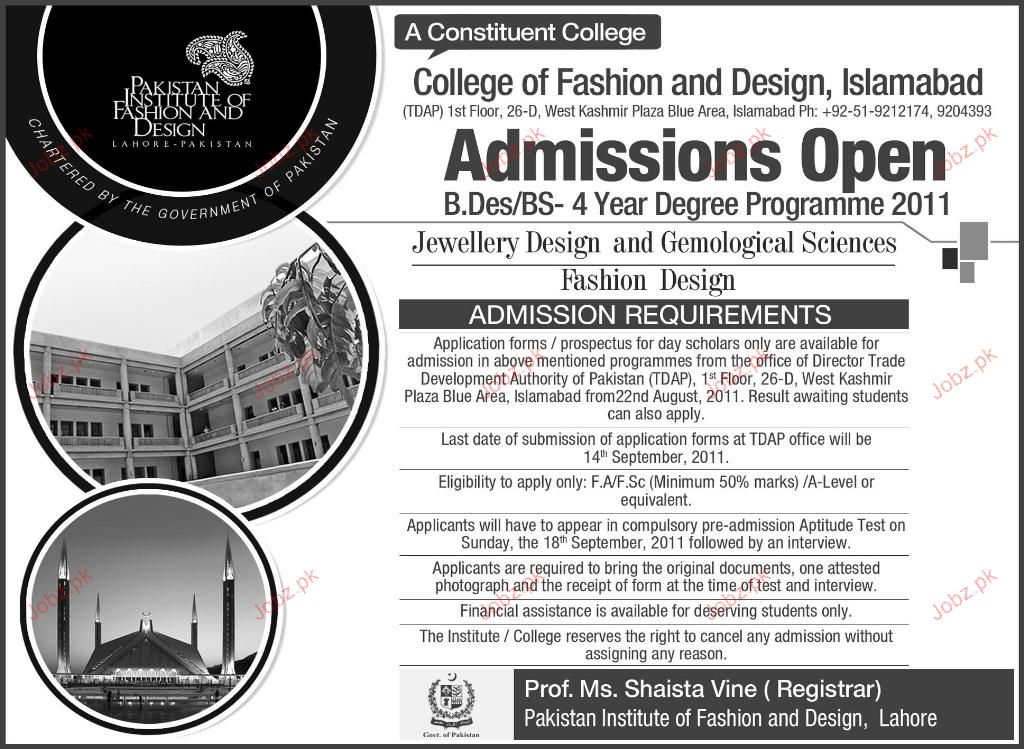 Admission Open In College Of Fashion And Design 2020 Private Admissions Graduate Arts Islamabad Islamabad Pakistan Jobz Pk