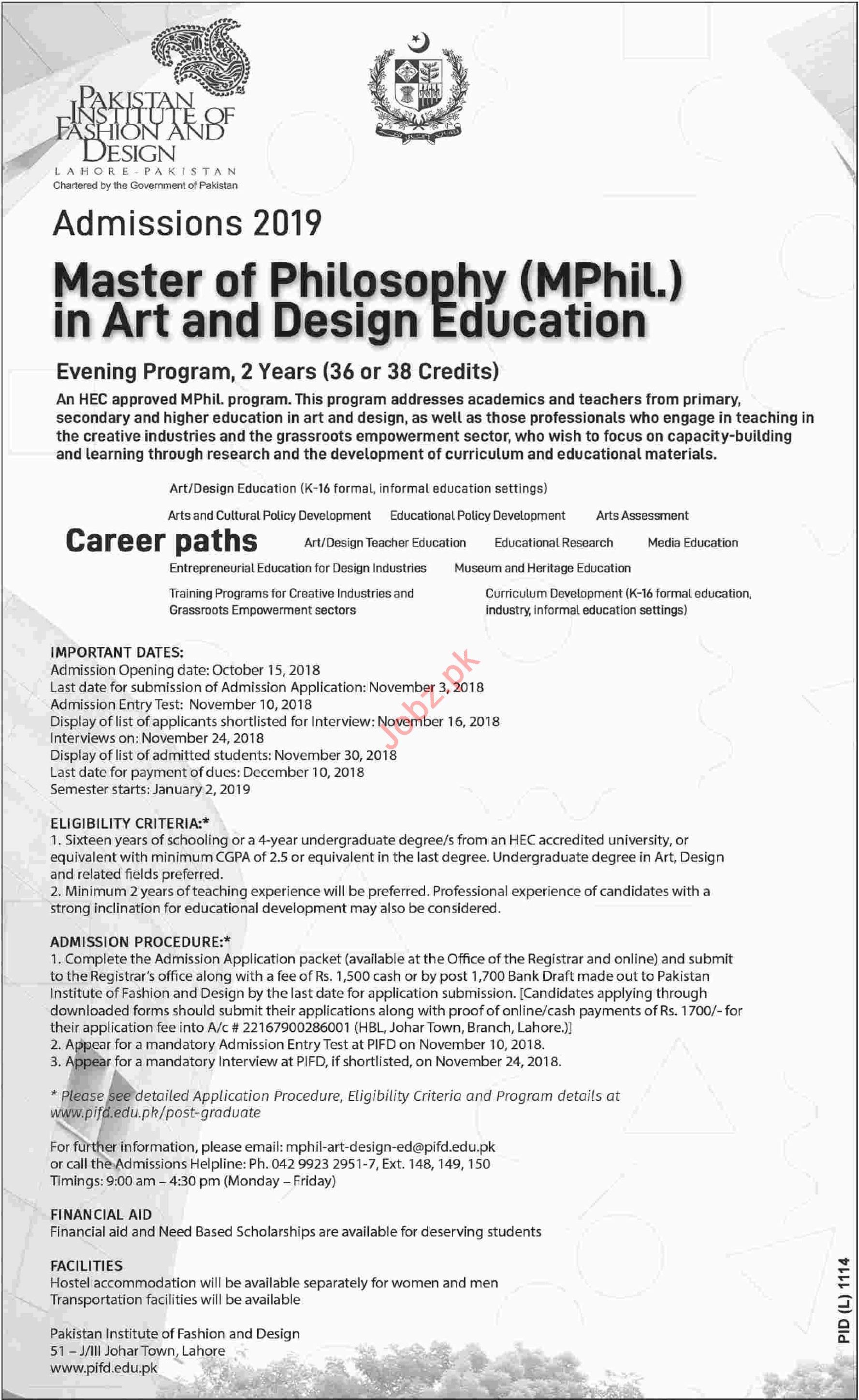 Pakistan Institute Of Fashion Design Admissions M Phil 2020 Government Admissions M Phil Teaching Karachi Sindh Pakistan Jobz Pk
