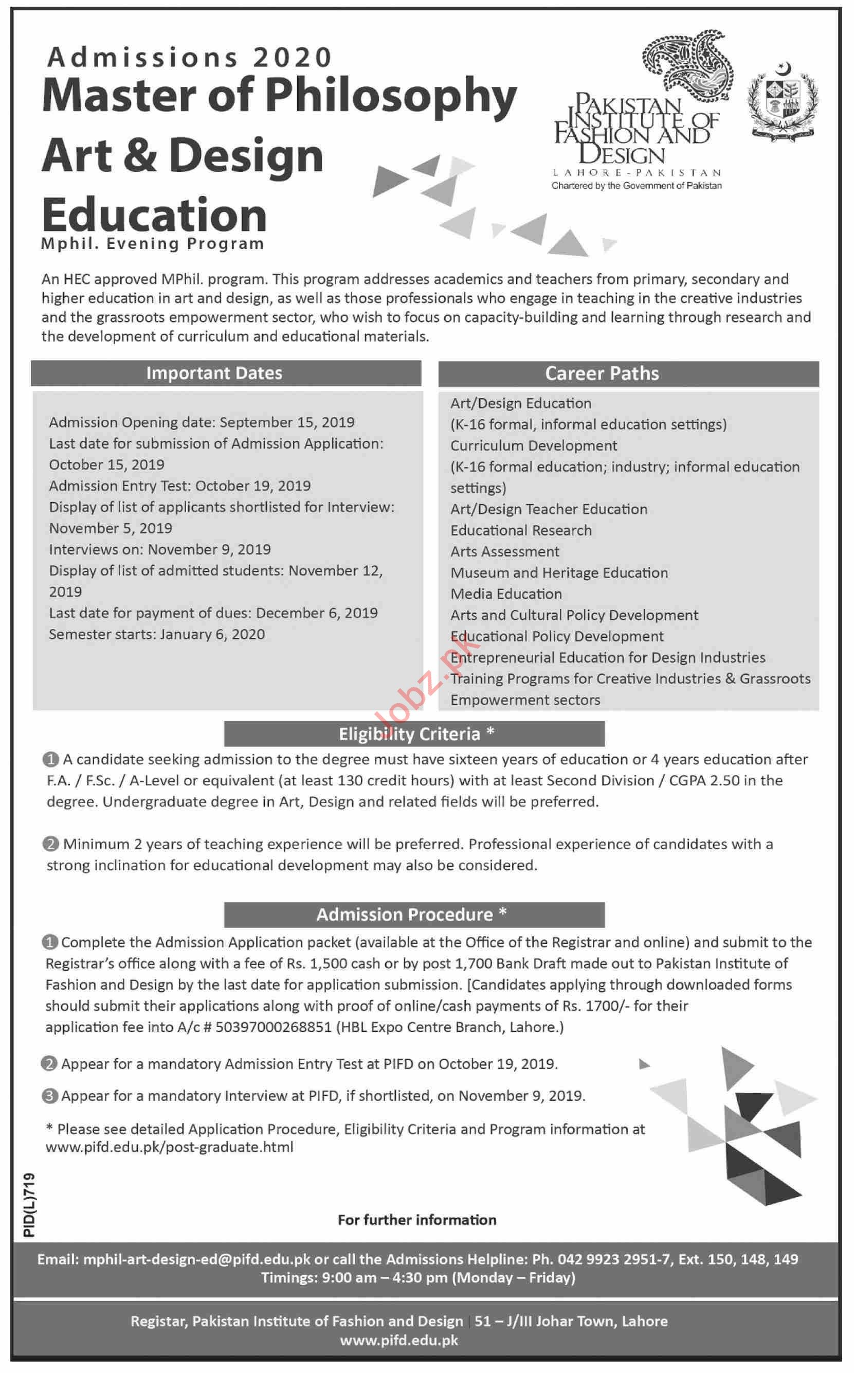Pakistan Institute Of Fashion Design Admissions 2019 2020 Government Admissions University Other Lahore Punjab Pakistan Jobz Pk
