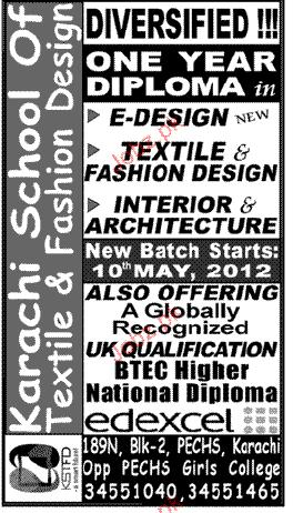 Admission In Textile Diploma In Karachi School Of Textile 2020 Private Admissions Diploma Other Karachi Sindh Pakistan Jobz Pk