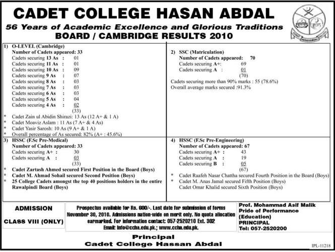 Admissions Open In Cadet College Hasan Abdal