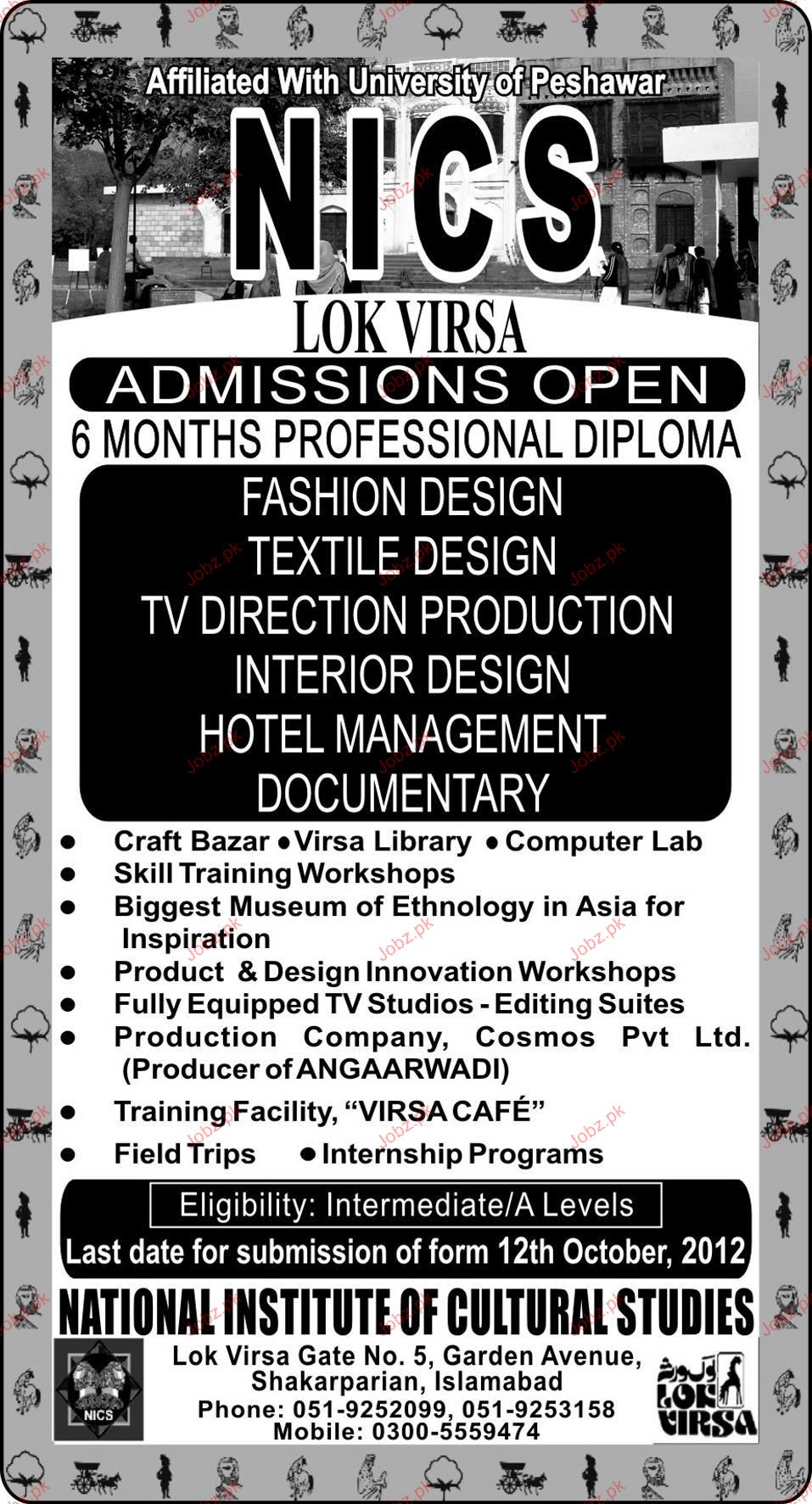 Admission In Diploma In Fashion Design In National Institute 2020 Private Admissions Diploma Other Islamabad Islamabad Pakistan Jobz Pk