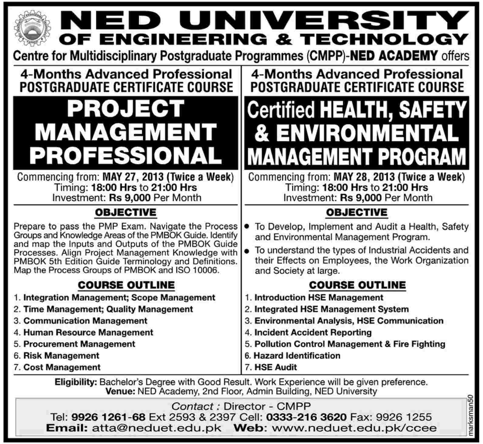 Admission in project management in ned university of enginee 2018 admission in project management in ned university of enginee xflitez Choice Image