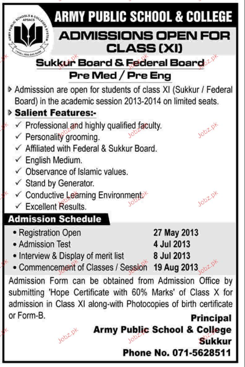 Admission in class xi in army public school and college 2018 admission in class xi in army public school and college aiddatafo Gallery