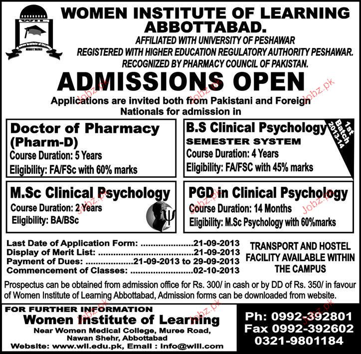 Women Institute Of Learning Abbottabad Admission In Pharm D