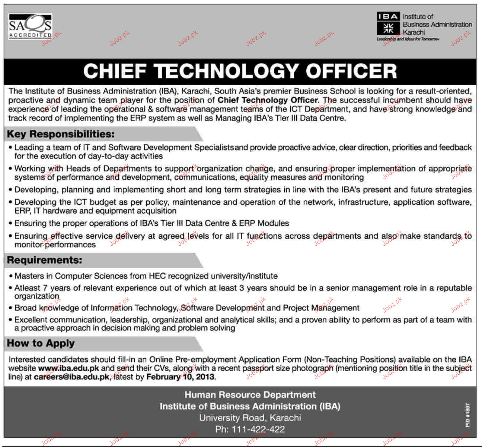 Chief technology officer job opportunity 2019 job advertisement pakistan - Chief information technology officer ...