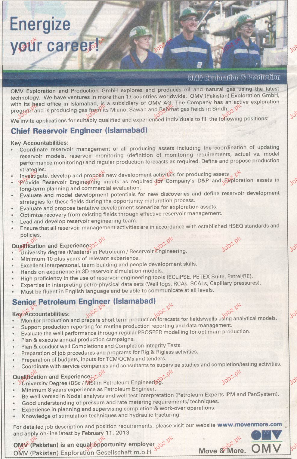Chief Reservoir Engineer, Senior Petroleum Engineer Wanted