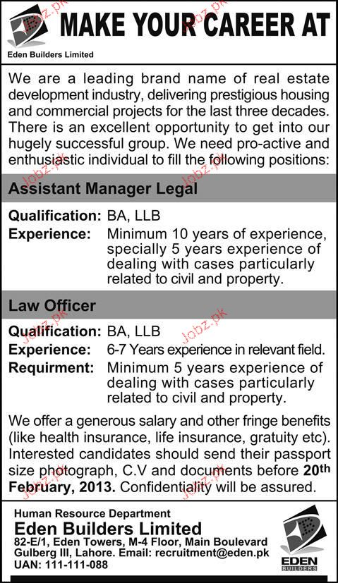 Assistant Manager Legal and Law Officer Job Opportunity