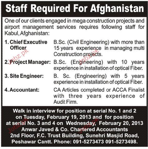 Chief Executive Officers, Project Manager Job Opportunity