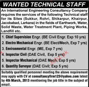 Chief Supervisors, Electro Mechanical Engineers Wanted