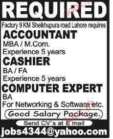 Accountant, Cashiers and Computer Expert Job Opportunity