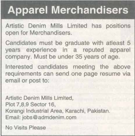 Apparel Merchandisers Job Opportunity 2017 Jobs Pakistan Jobz.Pk