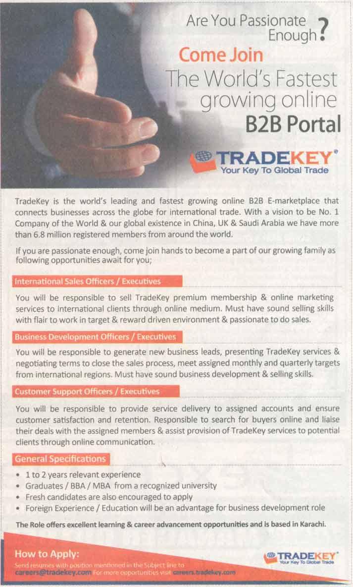 International sales Officer / Executives Job Opportunity