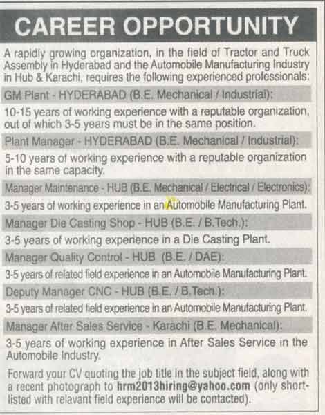 General Manager Plant Manager Maintenance Wanted  Jobs Pakistan
