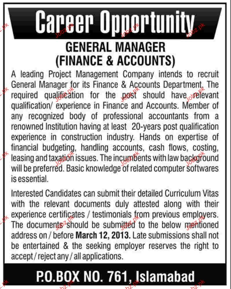 General Manager Finance and Accounts Wanted