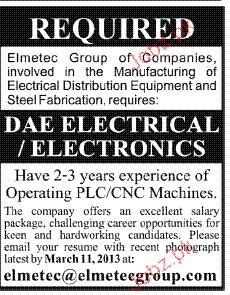 DAE Electrical  / Electronics Job Opportunity