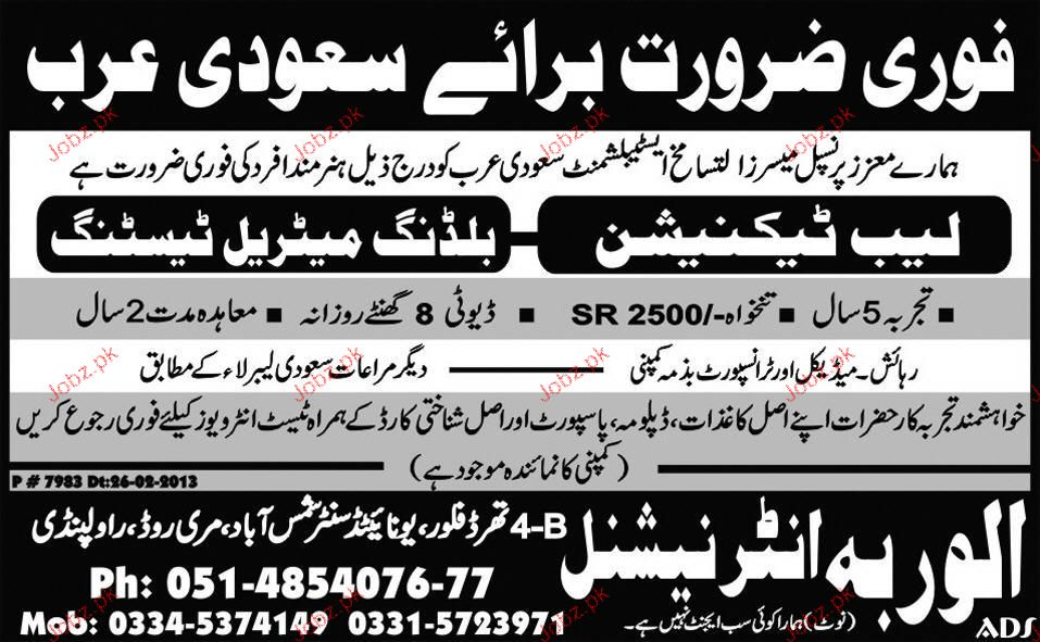 Lab Technicians Building Material Testing Wanted 2019 Job