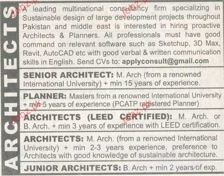 Senior Architect, Planners, Architects Leed Certified Wanted