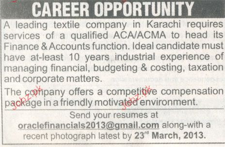 Finance and Accounts Head Job Opportunity