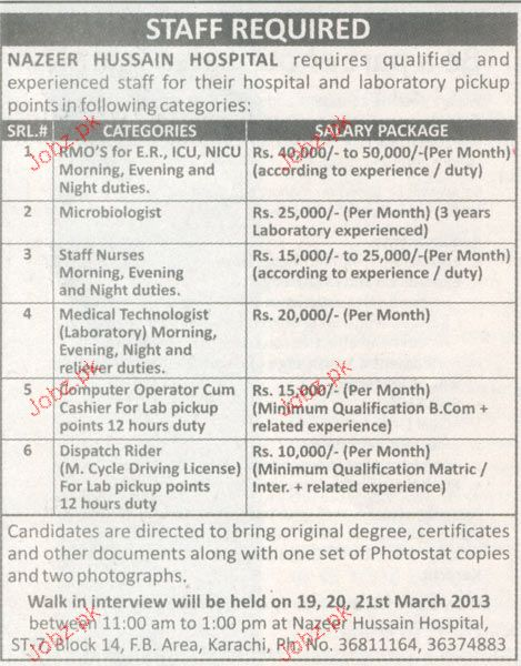 RMOs, Microbiologist, Medical Technologist Wanted