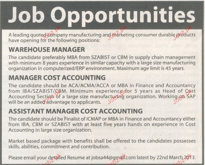 Warehouse Manager, Manager Cost Accounting Wanted 2017 Jobs