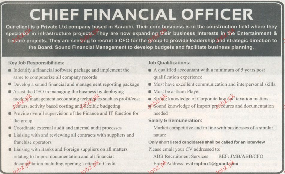 Chief Financial Officer Job Opportunity  Jobs Pakistan