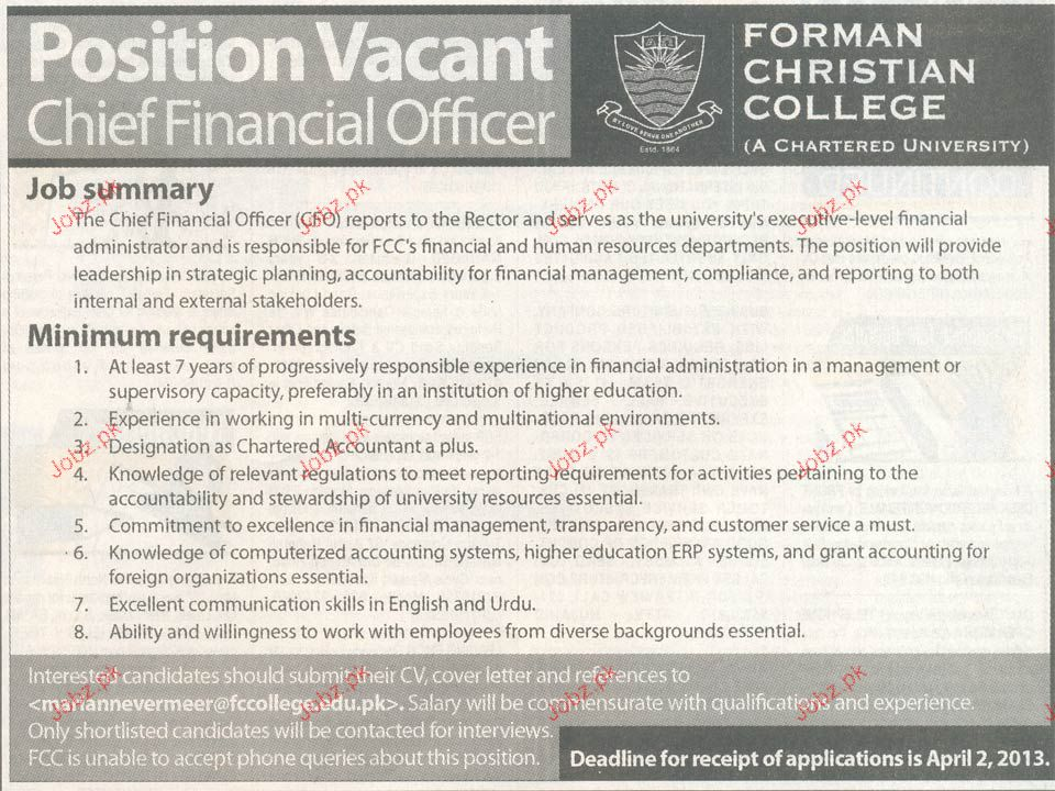 Chief Financial Officer  Job Opportunity