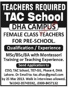 Female Class Teachers Job Opportunity