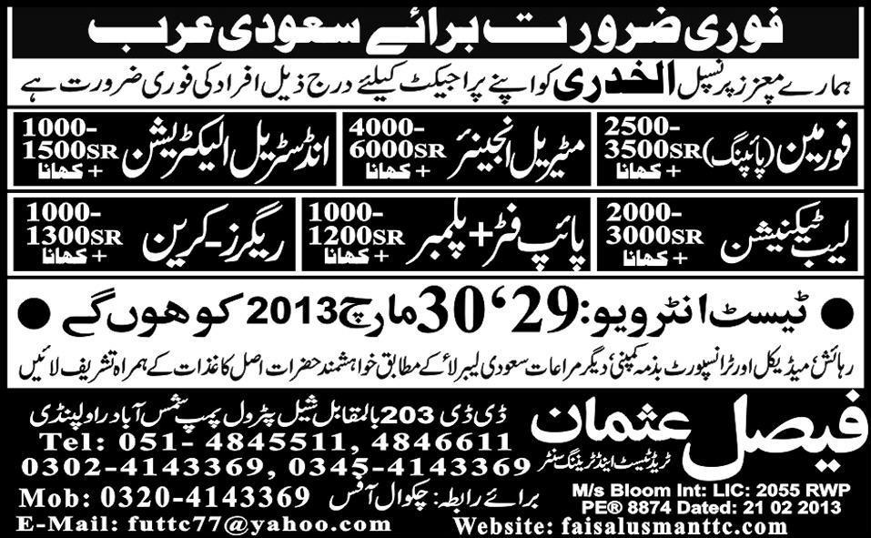 Foreman lab technician jobs in saudi arabia 2018 Jobs Pakistan