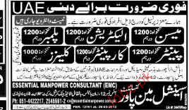 Painter, Electricians, Plumbers, Carpenters Job opportunity