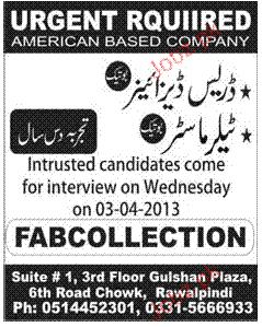 Dress Designers and Tailor Master Job Opportunity