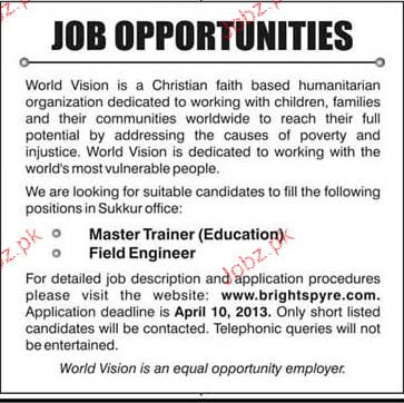 Master Trainers And Field Engineers Job Opportunity  Jobs