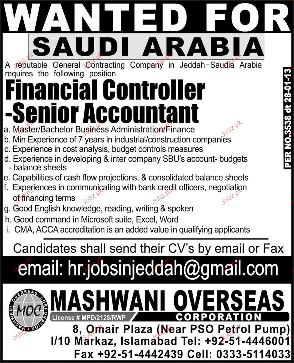 Financial Controller and Senior Accountant Wanted