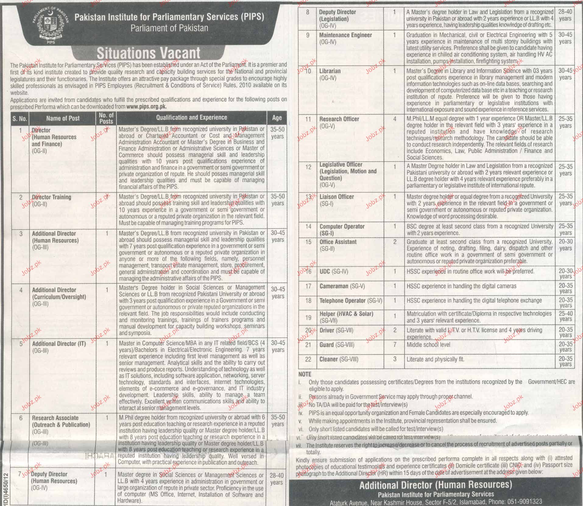 Director Human Resource, deputy Manager Job Opportunity