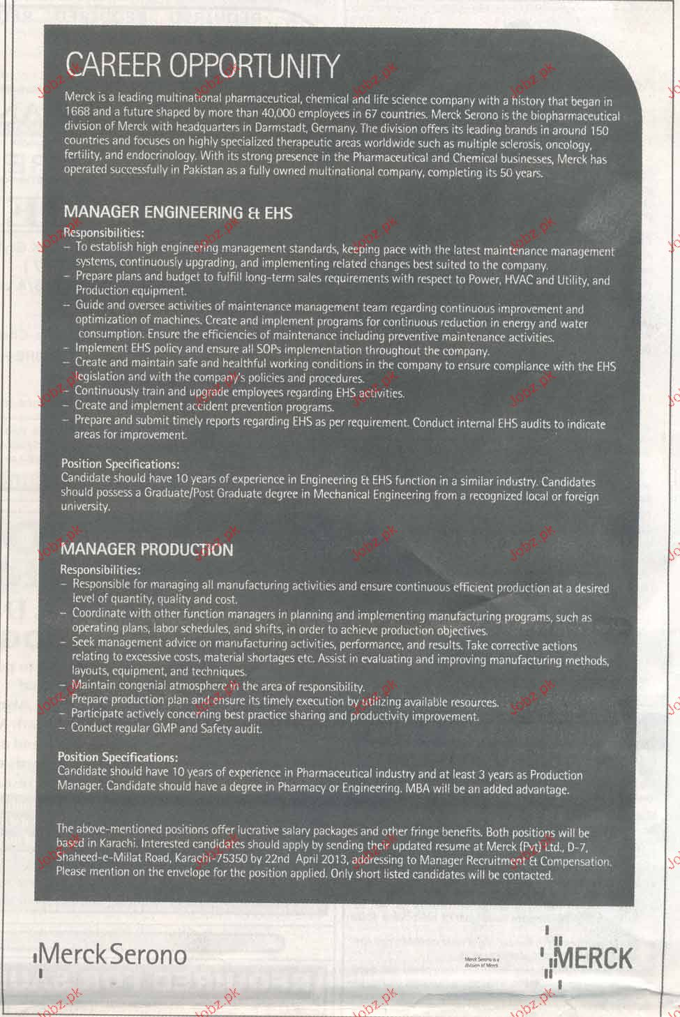 Manager Production and Manager Engineering Wanted