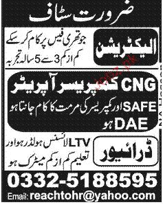 Electricians and CNG Compressor Operators Wanted