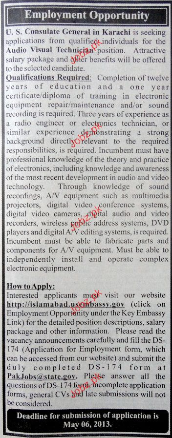 Audio Visual Technicians Job Opportunity