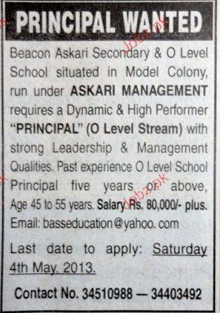 Principal Job Opportunity