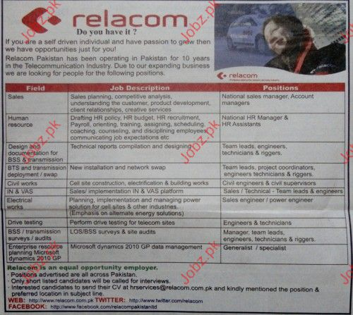 Sales, HR, PTS and Transmission deployment jobs at relacom