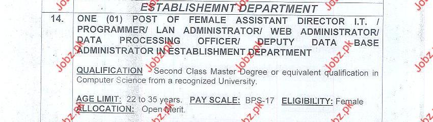 Female Assistant Director IT in Establishment Department